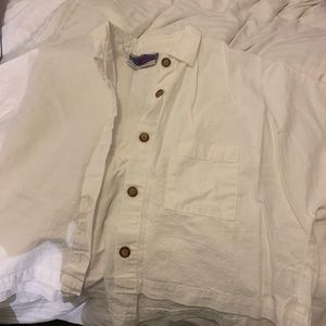 Linen cropped button up
